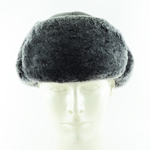 Grey Fur Leather Ushaka Pilot Şapka-2 - Thumbnail