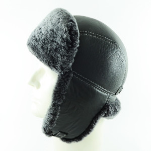 - Grey Fur Leather Ushaka Pilot Şapka-2